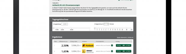 Logo- und Screen-Design für www.tagesgeld24.de